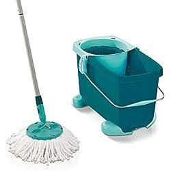 Leifheit Set Clean Twist Mop avec chariot, seau et balai essoreur faciles d'utilisation, balais serpillère mécanisme d'essorage intégré, kit de lavage
