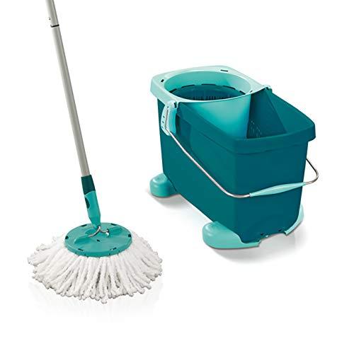 Leifheit Clean Twist Mop Set de Fregona y Cubo con Ruedas de Plástico, Azul