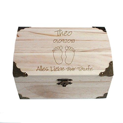 Geschenke.de Personalisierbare Schatztruhe als Geschenk zur Taufe mit Gravur, personalisierte Spardose aus Holz als Gastgeschenk vom Paten für Jungen und Mädchen