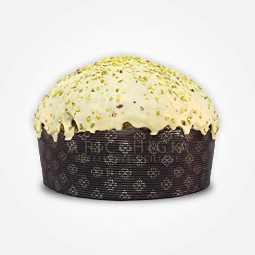 A' ricchigia - panettone artigianale ricoperto di cioccolato e granella di pistacchio farcito con crema al pistacchio - 900 gr