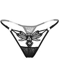 f1472416753 bismarckbeer Women Butterfly Flower Lace See Through Low Rise G-Strings  Thongs Briefs Panties