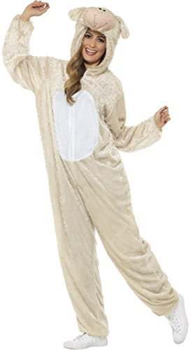 Herren Schaf Lamm Weihnachten Geburt Hof Herrenabend Do Tier Kostüm Kleid Outfit - Weiß, (Schafe Kostüme Geburt)