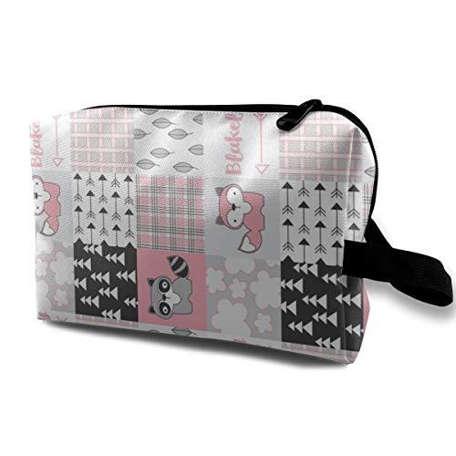 Fox Waschbär-Wholecloth-pink-personalisierte_2309 Tragbare Reise-Make-up Kosmetiktaschen Organizer Multifunktions-Fall Taschen für Frauen - Personalisierte Make-up-fall