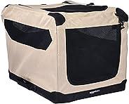 AmazonBasics Portable Folding Soft Dog Travel Crate Kennel - 18 x 18 x 26 Inches, Tan
