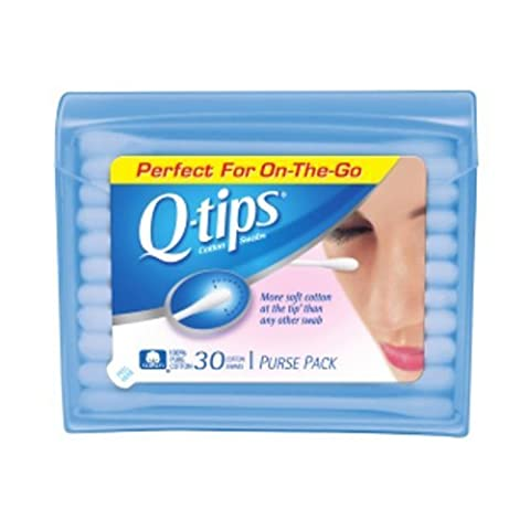 Q-Tips Cotton Swabs Purse Travel Size Pack, 30 Count (Pack of 3) by Q-Tips