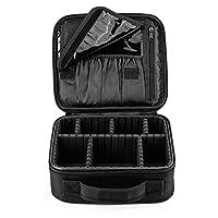 "AMASAVA Makeup Bag, Makeup Train Case Travel Makeup Box 10"" Portable Toiletry Organizer Tool Artist Storage Bag Brushes Bag with Adjustable Dividers Black"