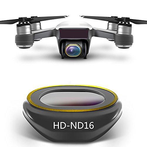 Rantow Kit Filtro Obiettivo HD Multi-Rivestito per Fotocamera Gimbal per DJI Spark Drone, Disegno Click-on Non Sono necessari Utensili Neutral Density UV CPL Polarizzatore ND4 ND8 ND16 ND32 (HD-ND16)