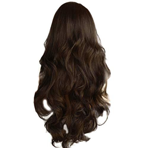 Beladla parrucca rossa donna moda capelli lunghi ondulato mossi naturali fibra sintetica resistente al calore vari colori per cosplay, spettacoli, teatro, feste et