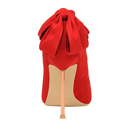 AalarDom Femme Stylet Pointu Tire Couleur Unie Chaussures Légeres Rouge-Dépolissement
