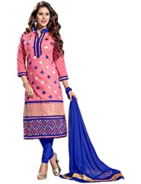 Radhey ArtsNew Designer Light Pink And Blue Embroidered Cotton Dress Material With Matching Dupatta