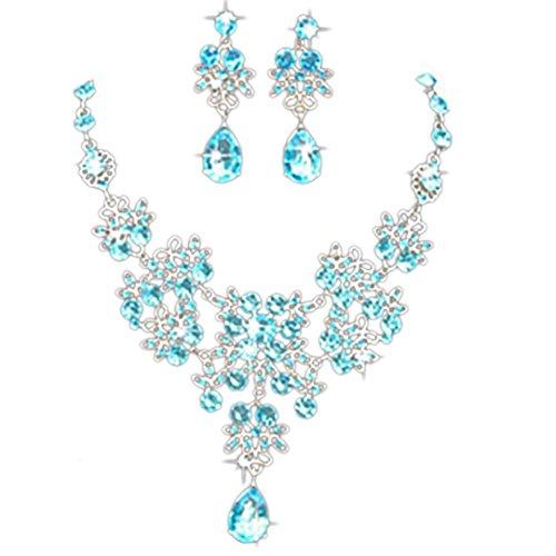 Kette Damen, HUIHUI Böhmische Strass geometrische Edelstein Anhänger Damen elegant Strass Perlenkette Halskette Pendant Halskette Kette amulett zum öffnen mit kette Halskette + Ohrring Sets (Hellblau)
