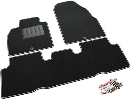 Il Tappeto Auto SPRINT03707 - Alfombrilla para coche, Negra, Antideslizante, borde bicolor, tacón de goma reforzado (Scenic II de 2003 a 2009)