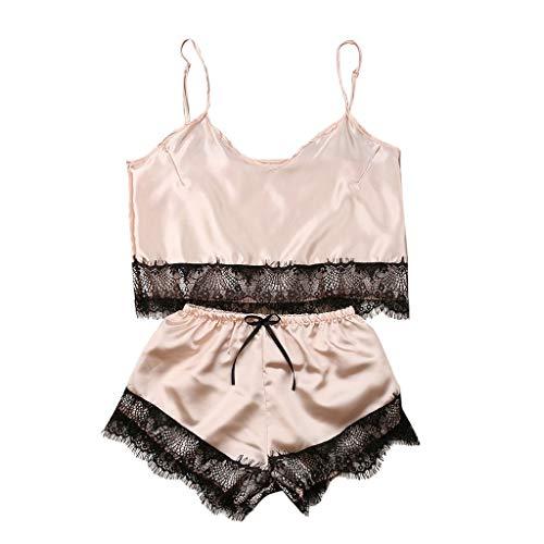 SuperSU Neu! Damen Satin Seide Dessous Set, Damen Unterhemd Short Tops + Shorts Nachtwäsche Set Komfort Schlafanzug Unterwäsche