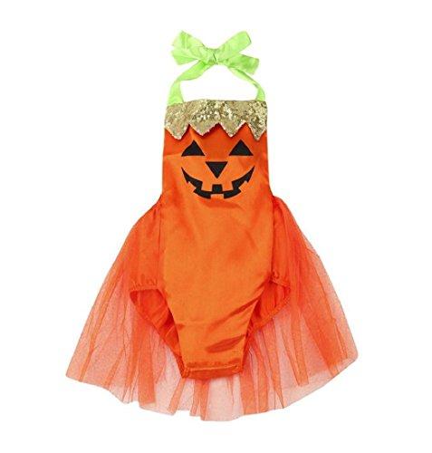 ZEZKT Baby Kostüm Halloween Kürbis Overall Parteikleidung Infant Kostüm Mädchen Karneval Party Kleid Halloween Fest Kürbis ----6-24 Monate (18 Monate /90)