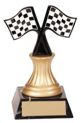 Trophäe mit karierter Racing-Zielflagge - Racing Flag Trophy Award - trophae Auszeichnung (Gewinner Flagge)