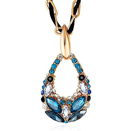 BBYaki Hochwertige Weizen Kristall Kette Pullover, Lange Halskette, Damen Ethnischen Stil / Modeschmuck / Kleidung Zubehör, 5 Farben , Ink Blue + Color (Modeschmuck Österreich)