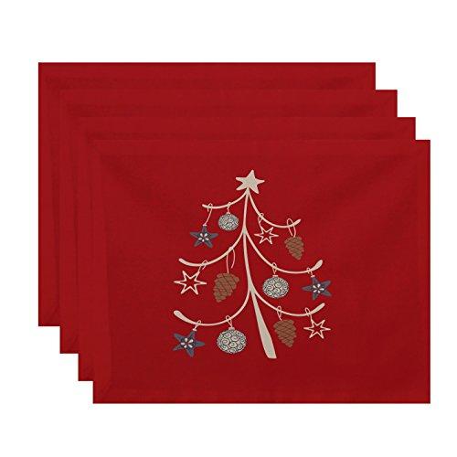 E-design pt4hgn651or1545,7x 35,6cm Pinecone Baum, Deko Urlaub Geometrische Print Tisch-Sets, Coral (Set von 4) (Küsten-dekor-tischsets)