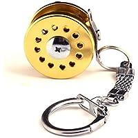 Ogquaton Línea de Pescado Rueda Llavero Mini Carro de Pesca con Mosca Carácter En Miniatura Titular de la Clave Carrete de Pesca Forma Llavero