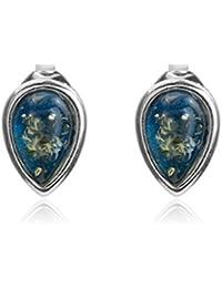 Blue Amber Sterling Silver Drop Stud Earrings