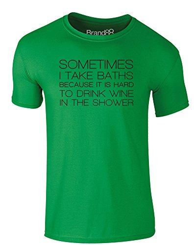 Brand88 - It is Hard to Drink Wine in the Shower, Erwachsene Gedrucktes T-Shirt Grün/Schwarz