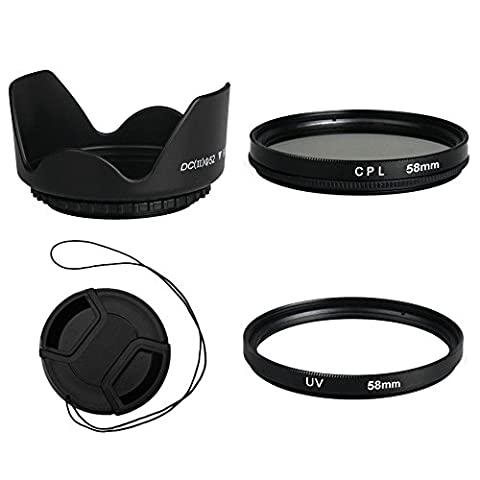BPS 58mm Filtre Protecteur UV + Filtre CPL + Parasoleil