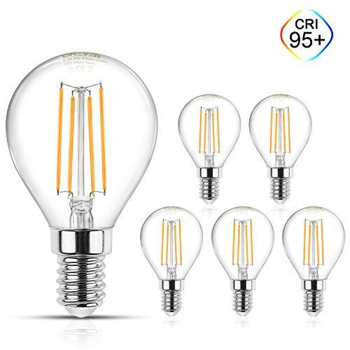 Creyer E14 Filament LED Lampen G45 - E14 LED Birne, CRI≥95+, 450Lumens, Ersetzt 40W Glühlampen, Warmweiß(2700K), Nicht Dimmbar, Glas, AC 220V-240V - 5er Pack -