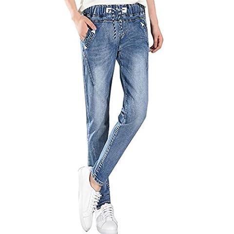 Sidiou Group Pantalon en jean Femme Taille Haute Jeans Jambe Droite Denim Pantalon Grande Taille Élastique Jeans (3XL, Bleu