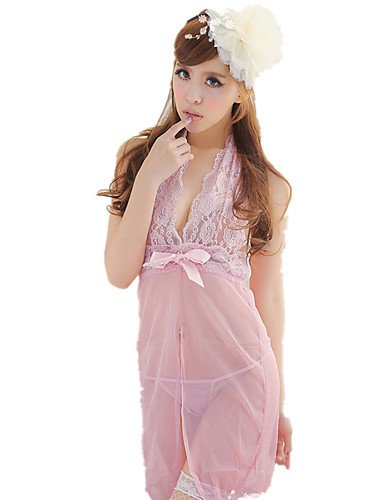 HJL Da donna Completi Indumenti da notte Rayon Nylon-Sexy Retrò Jacquard , black , one-size blushing pink