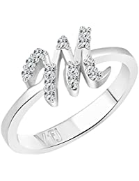 b0ebc0db0d Vighnaharta initial ''M'' Alphabet (CZ) Rhodium Plated Alloy Ring for Girls  and Women…