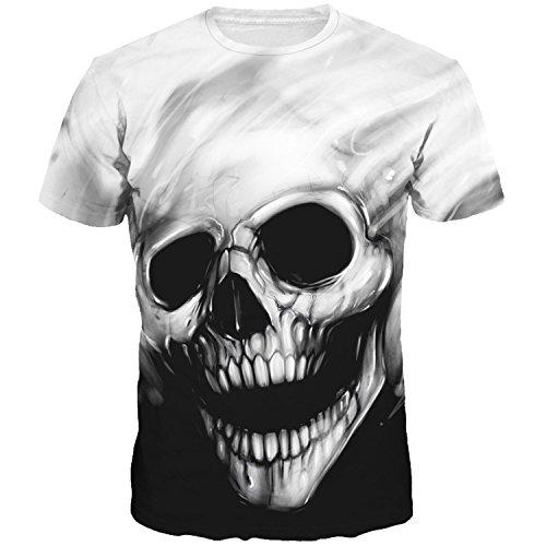 Cousin canal uomo casual 3d estate t-shirt top manica corta tees (xxxl, skull-a)