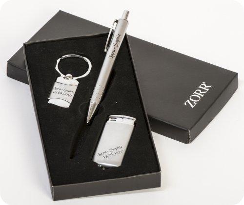 Ein hochwertiges 3-tlg. Geschenkset Kugelschreiber, Feuerzeug, Schlüsselanhänger mit Gravur nach Wunsch