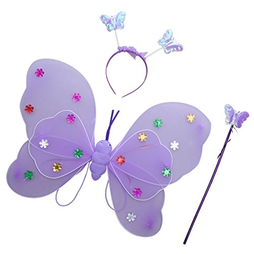 Feen Lila Kostüme (MagiDeal Glitzer Schmetterling Flügel mit Zauberstab Stirnband Set - Feen Kostüm Kinder -)