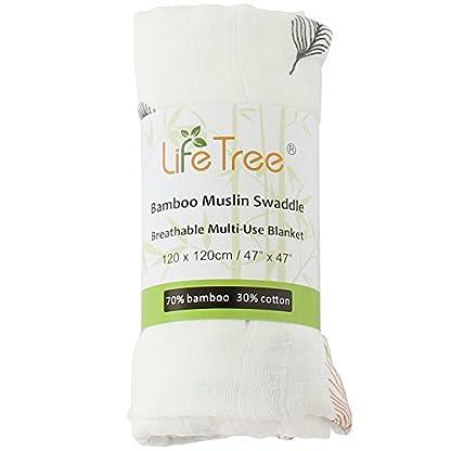 LifeTree Mantas de Muselina Bebé, Súper Suave Mantas Envolventes de Muselina, Bambú Algodón 120×120 cm