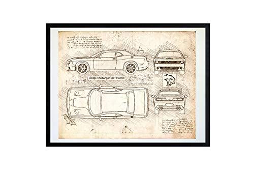 #214 Dodge Challenger SRT Hellcat 2015 Kunstdruck, da Vinci Sketch - ungerahmt, Verschiedene Größen/Farboptionen (11 x 14, Vintage)