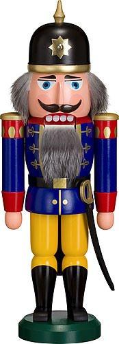 Nussknacker Figur Soldat blau-gelb von DREGENO SEIFFEN 37 cm – Original erzgebirgische Handarbeit,...