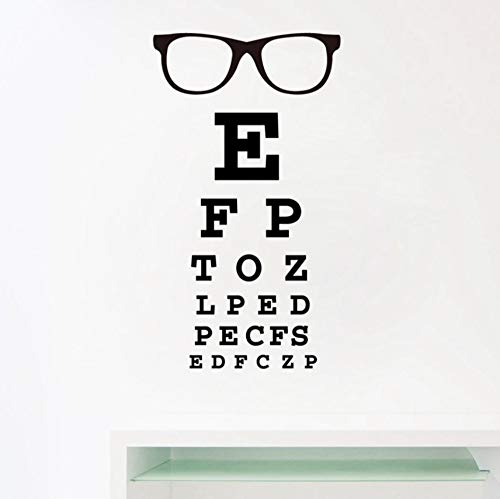 Qscwdv Glasses Eye Chart Letters Art Wall Decal Eyewear Specs Frames Vinyl Sticker Eye Doctor Optometry Optical Shop Window Door Decor 56 * 33Cm