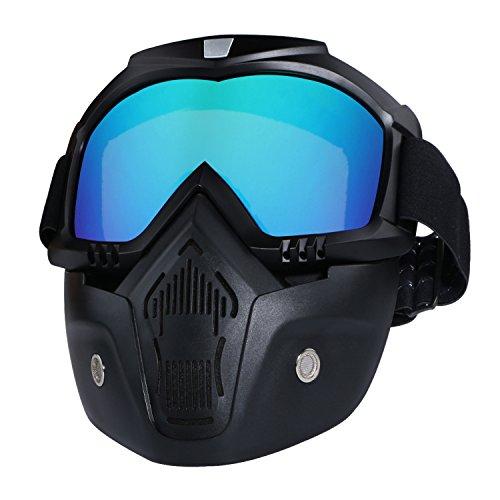 Casco da moto con occhiali, maschera rimovibile, staccabile, caldo antinebbia occhialini, filtro bocca regolabile, cinghia antiscivolo vintage, Harley Bullet Fight motocross, colorful