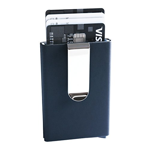 Kartenetui Herren I Geldklammer Aus Aluminium & Leder Schwarz I Pop-Up Geldbeutel I Rfid NFC Schutz I Herzog