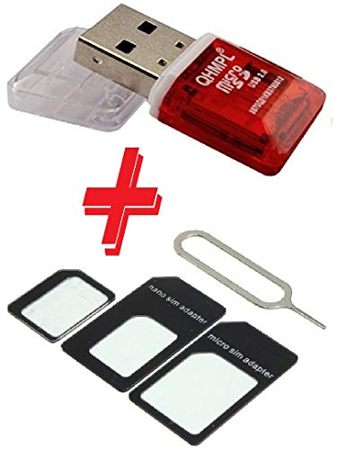 MMMobile QHM 5570 SD Card Reader USB 3.0 T Flash Card Micro CardReader with Micro Nano Sim Card Adapter Combo4 Red-White