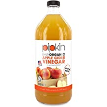 Pipkin 946ml Raw 100% Organic Apple Cider Vinegar with The Mother, Non-GMO Cloudy ACV Pure Cold Pressed, Unrefined, Unfiltered, Unpasteurized, 5% Acidity, Vegan & Vegetarian Friendly (Glass Bottle)