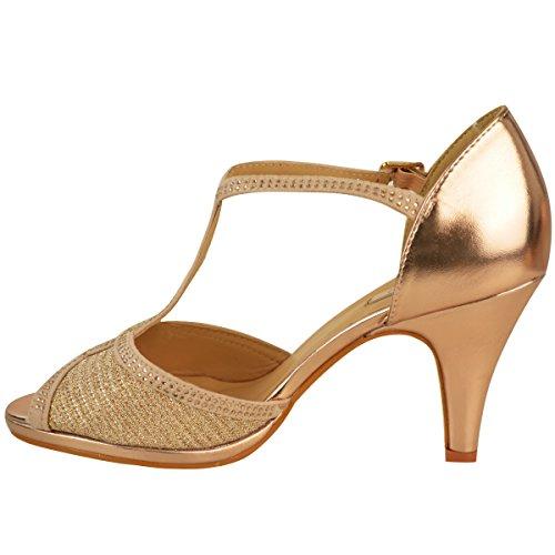 Donna Scarpe Da Sposa Ballo Tacco Alto Diamante Festa Sandali Taglia rosa dorato metallizzato