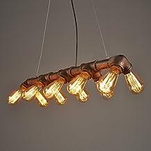 Lightess Lámpara Industrial Lámpara Vintage Lámpara Retro de Techo Colgante Lámpara 10 Portalámparas de Doble Filas, No Incluye Bombillas, Color Herrumbre