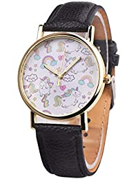 SSITG Mujer Unicornio Reloj de Cuarzo Redondo Reloj de Pulsera analógico Reloj Caballo Piel Pulsera Watch