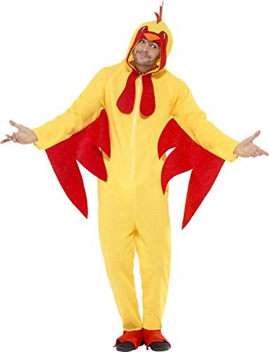 Smiffys, Unisex Hühner Kostüm, All-in-one mit Kapuze, Größe: L, (In Huhn Kostümen)