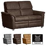 Cavadore 2-Sitzer Chalsay / mit Federkern / moderne Couch / Größe: 145 x 94 x 92 cm (BxHxT) / Farbe: Braun (chocco)