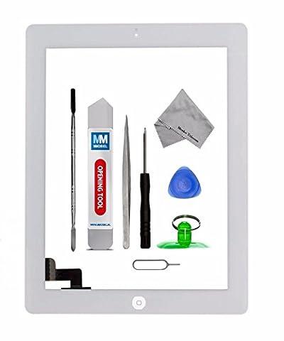 Kit de remplacement d'écran tactile pour iPad 2 BLANC inclus : Vitre de rechange; Ruban adhésif autocollant; Bouton home; suport caméra; Kit d'outillage spécifique -