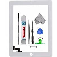 Digitizer e schermo tattile frontale in vetro - Inclusi: pulsante home e cavo flessibile + sostegno camera per iPad 2 Bianco
