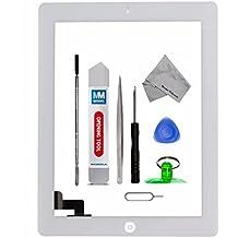 Digitalizador Pantalla táctil frontal para iPad 2 Blanco de MMOBIEL. Con botón de inicio y cable flex soporte cámara adhesivos pre instalados kit de herramientas para una fácil instalación.