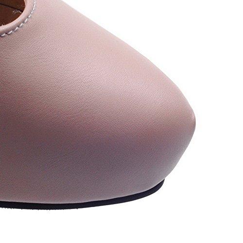 AllhqFashion Femme Boucle Rond à Talon Correct Pu Cuir Couleur Unie Chaussures Légeres Rose