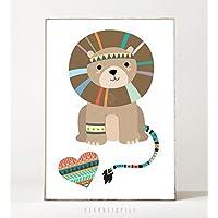 Kunstdruck / Poster LITTLE LION -ungerahmt- Tier, Löwe, Bild, Kinderzimmer, Indianer, Geschenk, Geburtstag, Taufe, Kind, Boho, Muster, Safari, Illustration